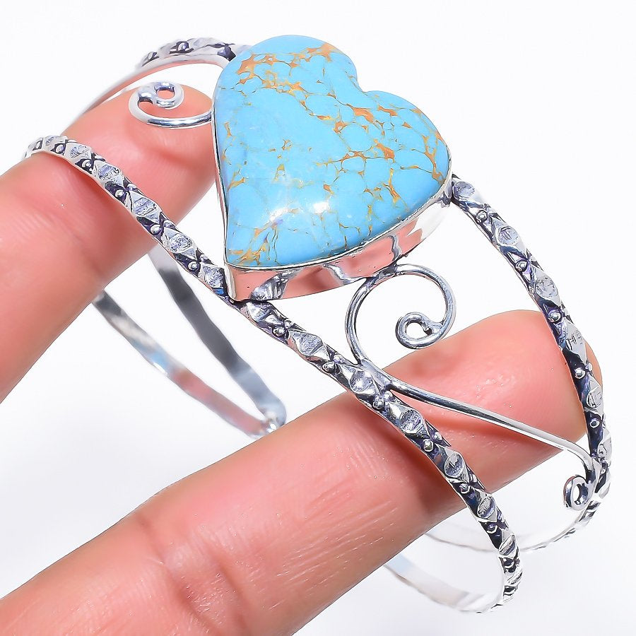 Heart - Copper Turquoise Jewelry Cuff Bracelet Adst. RC495