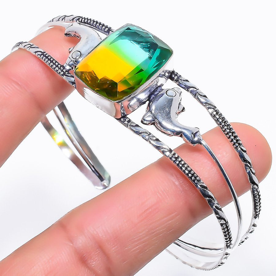 Bi-Color Tourmaline Jewelry Cuff Bracelet Adjustable RC509