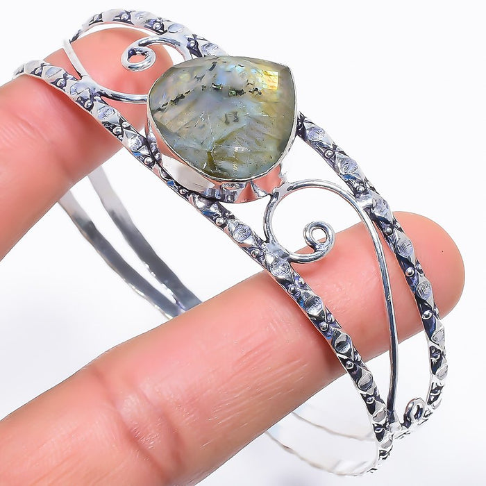 Faceted Labradorite Jewelry Cuff Bracelet Adjustable RC512