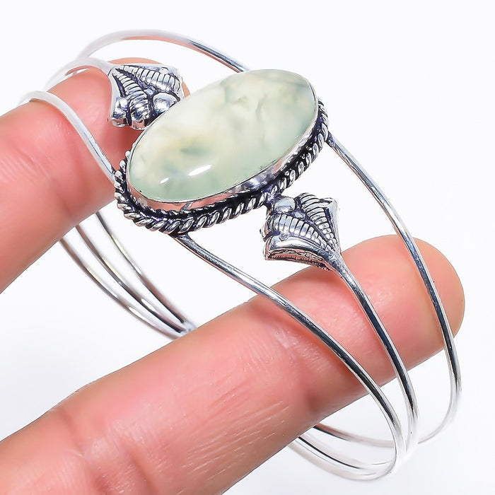 Prehnite Gemstone Jewelry Cuff Bracelet Adjustable RC521