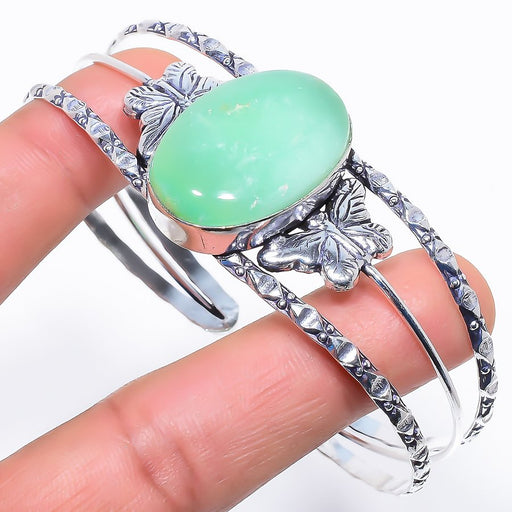 Chrysoprase Gemstone Jewelry Cuff Bracelet Adjustable RC548