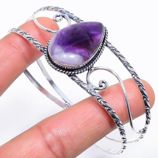 Chevron Amethyst Jewelry Cuff Bracelet Adjustable RC558