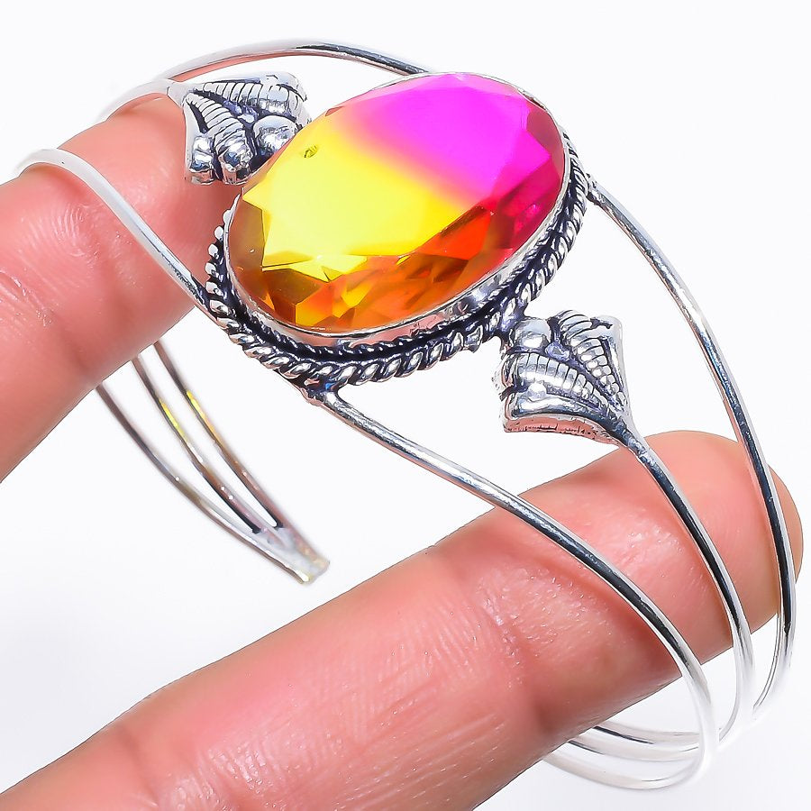 Bi-Color Tourmaline Jewelry Cuff Bracelet Adjustable RC566