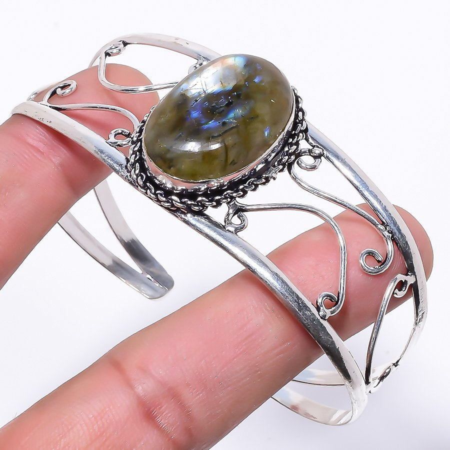 Labradorite Gemstone Jewelry Cuff Bracelet Adjustable RC56