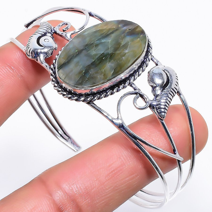 Labradorite Gemstone Jewelry Cuff Bracelet Adjustable RC572