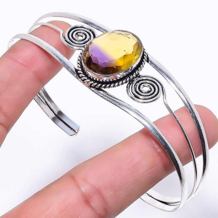 Ametrine Gemstone Jewelry Cuff Bracelet Adjustable RC58