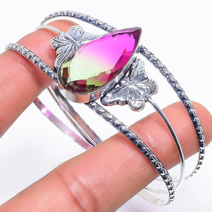 Bi-Color Tourmaline Jewelry Cuff Bracelet Adjustable RC600
