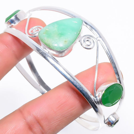 Chrysoprase Jewelry Cuff Bracelet Adjustable RC606