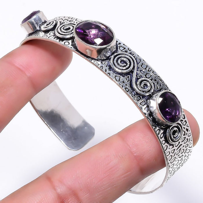 Amethyst Gemstone Jewelry Cuff Bracelet Adjustable RC60