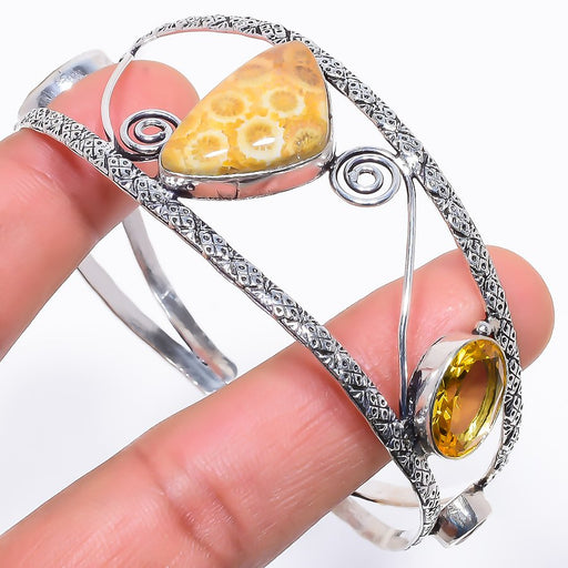 Fossil Coral, Citrine Jewelry Cuff Bracelet Adjustable RC611