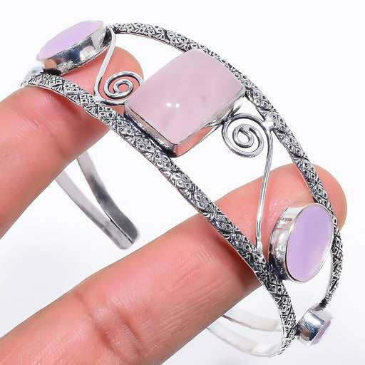 Rose Quartz Jewelry Cuff Bracelet Adjustable RC624