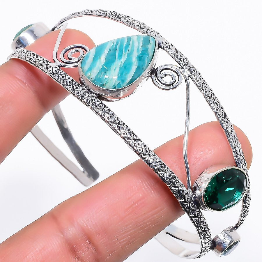 Amazonite Jewelry Cuff Bracelet Adjustable RC626