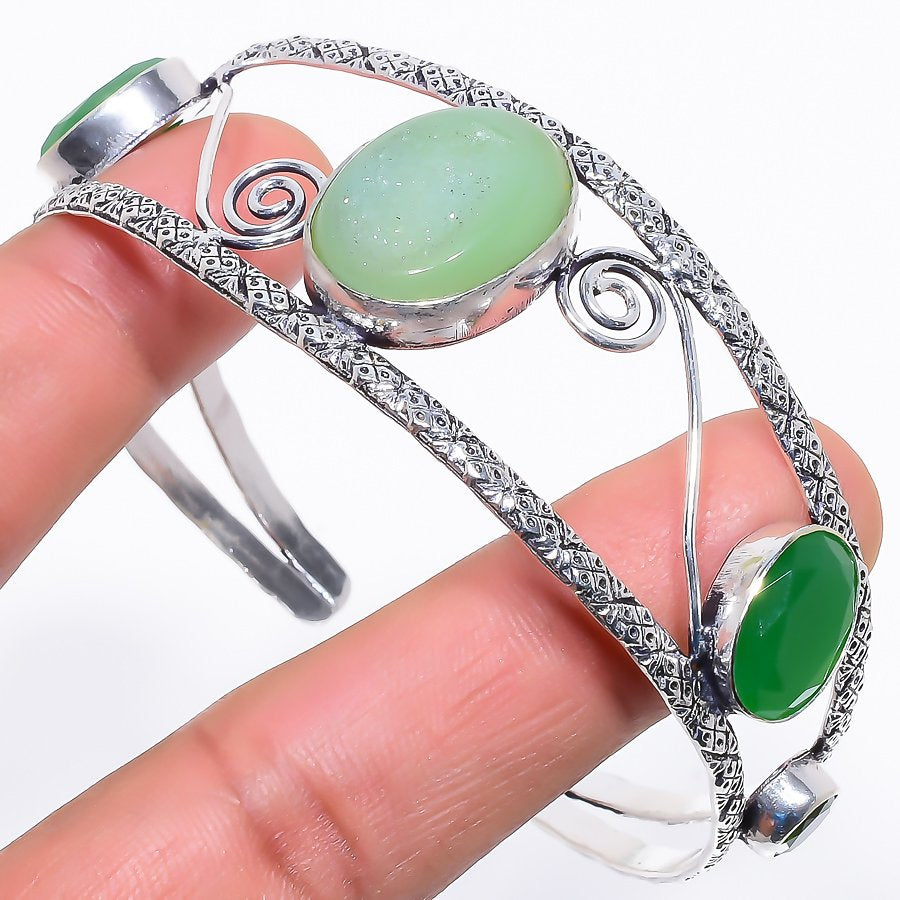 Green Agate Druzy Jewelry Cuff Bracelet Adjustable RC628