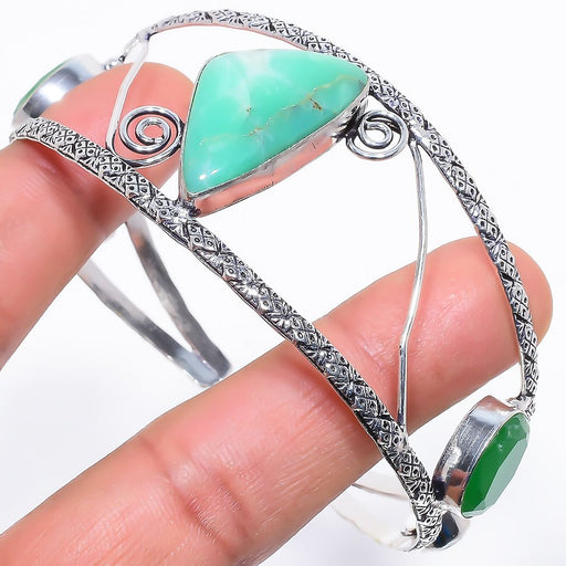 Chrysoprase Jewelry Cuff Bracelet Adjustable RC633