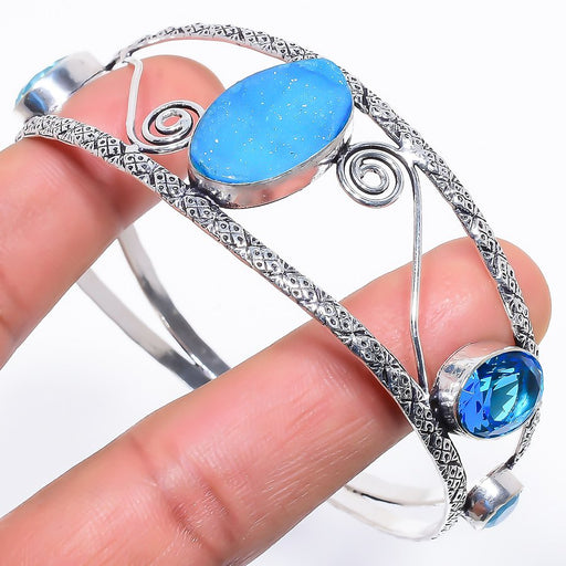 Blue Agate Druzy Jewelry Cuff Bracelet Adjustable RC635