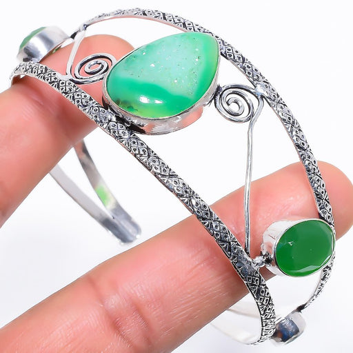 Green Agate Druzy Jewelry Cuff Bracelet Adjustable RC637