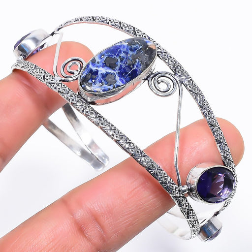 Sodalite, Amethyst Jewelry Cuff Bracelet Adjustable RC640