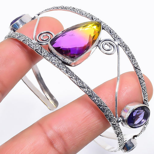 Ametrine, Amethyst Jewelry Cuff Bracelet Adjustable RC641
