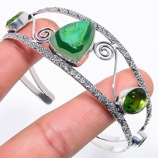 Green Agate Druzy Jewelry Cuff Bracelet Adjustable RC652
