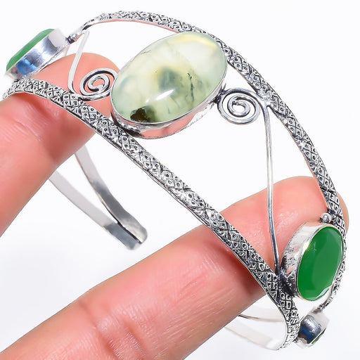 Prehnite, Green Onyx Jewelry Cuff Bracelet Adjustable RC657