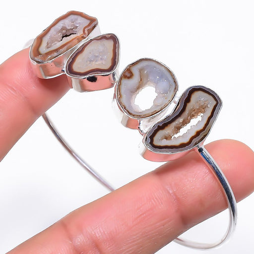Smokey Window Agate Druzy Jewelry Cuff Bracelet Adst. RC675