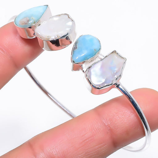 Caribbean Larimar Jewelry Cuff Bracelet Adjustable RC686