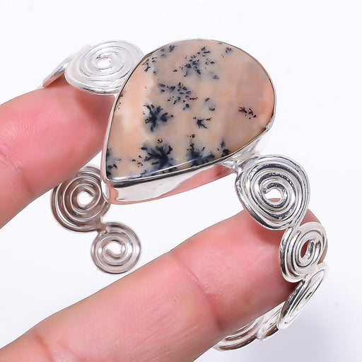 Honey Dendrite Gemstone Jewelry Cuff Bracelet Adjustable RC6