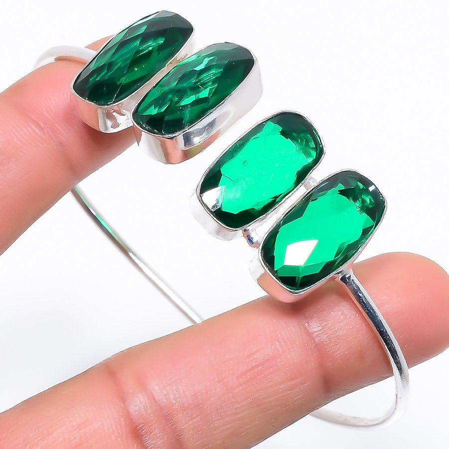Emerald Quartz Ethnic Jewelry Cuff Bracelet Adjustable RC703