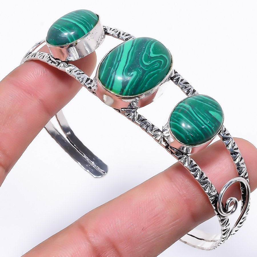 Malachite Gemstone Jewelry Cuff Bracelet Adjustable RC78