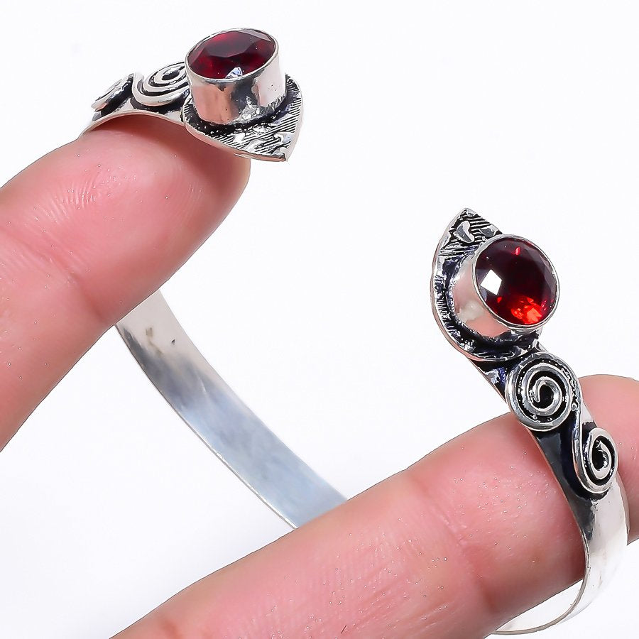Garnet Gemstone Ethnic Jewelry Cuff Bracelet Adjustable RC79