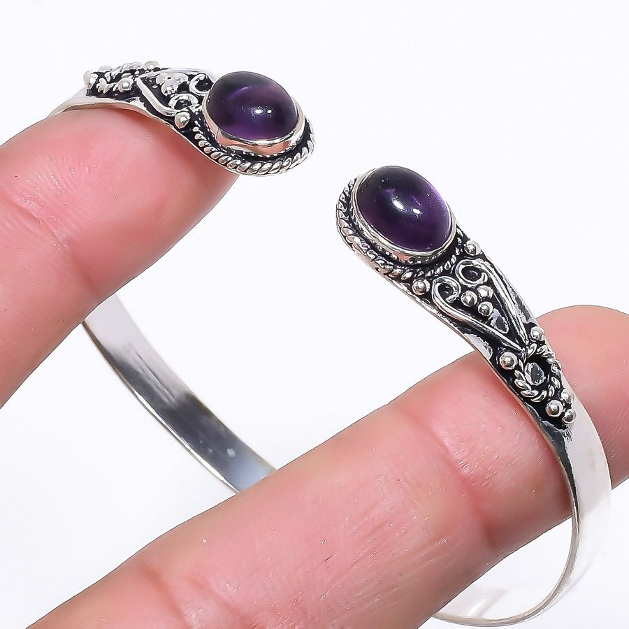 African Amethyst Jewelry Cuff Bracelet Adjustable RC91