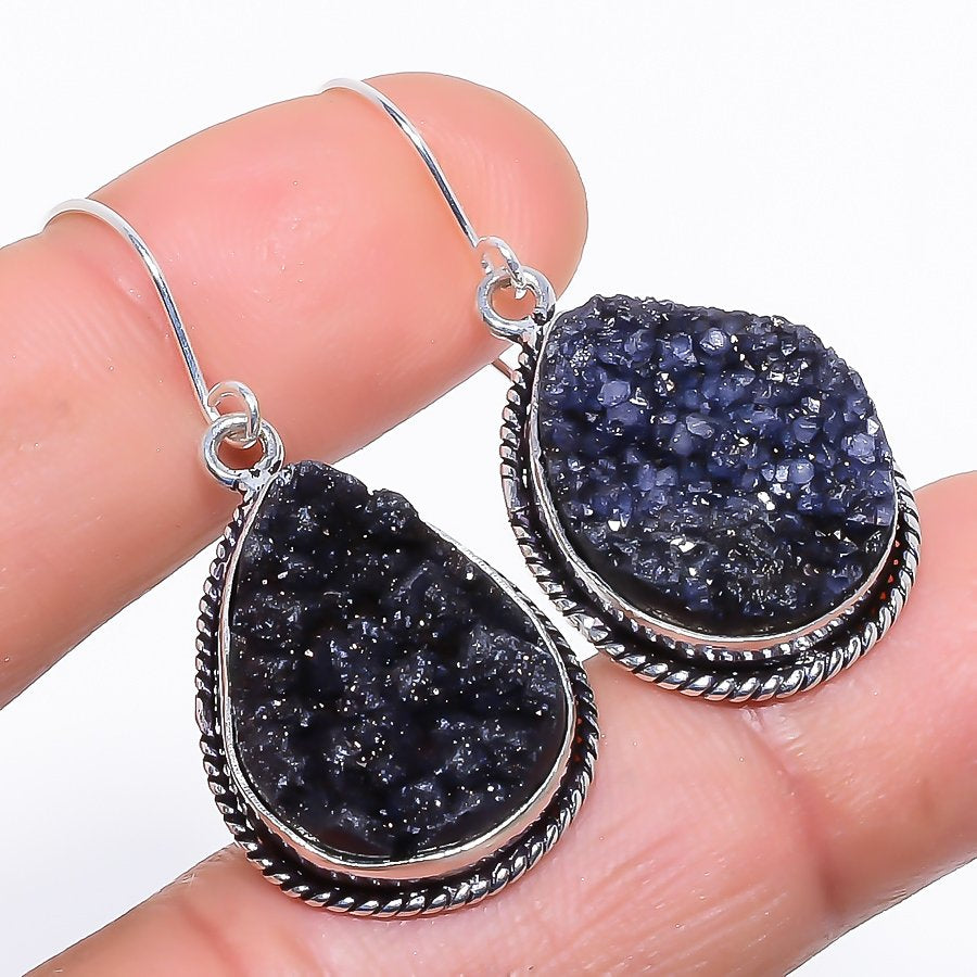 Tektite Druzy Gemstone Handmade Jewelry Earring 1.6 Inches RE1076
