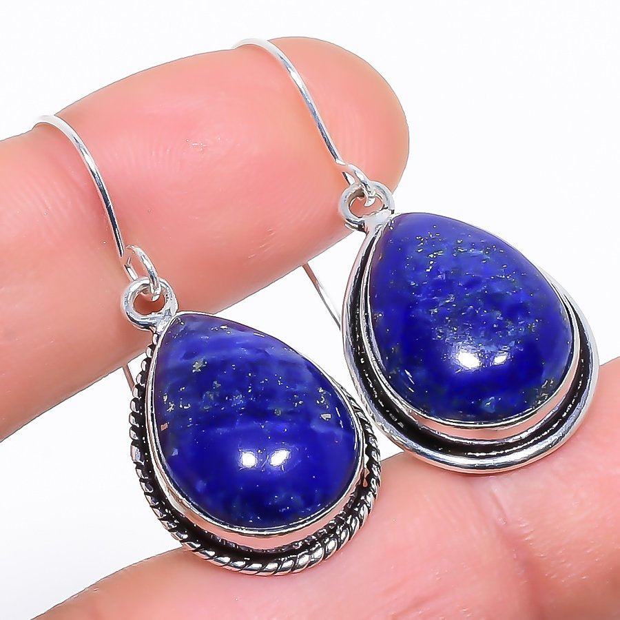 Lapis Lazuli Gemstone Handmade Jewelry Earring 1.5 Inches RE1134