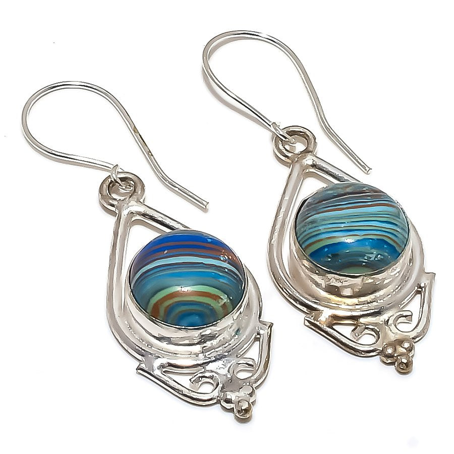Rainbow Calsilica Gemstone Jewelry Earring 1.9 Inches RE1187
