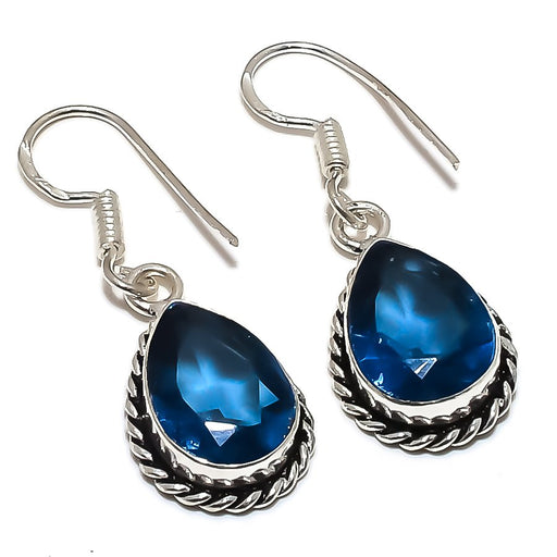 Blue Sapphire Gemstone Handmade Jewelry Earring 1.4 Inches RE1194