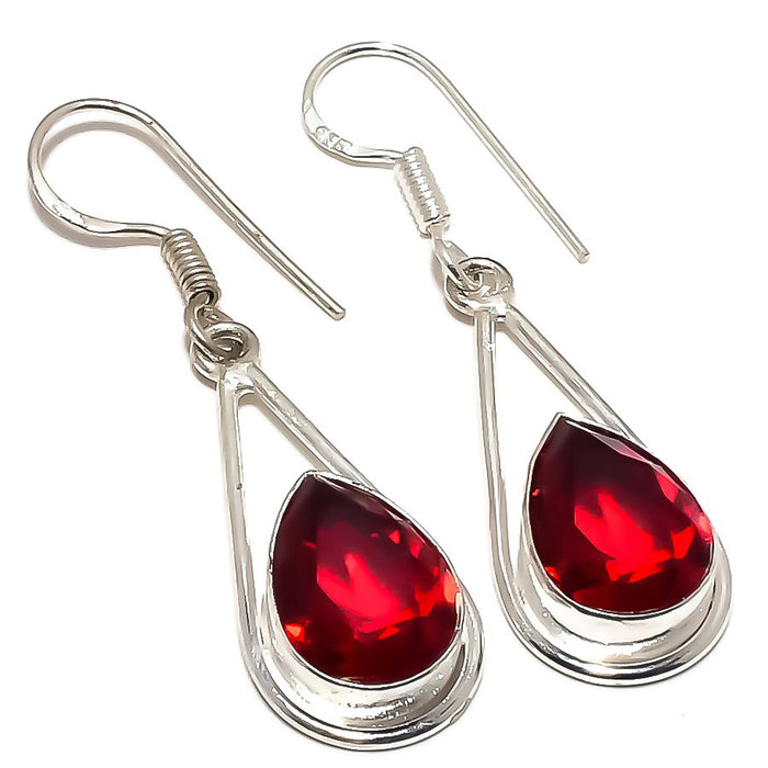 Garnet Gemstone Handmade Ethnic Jewelry Earring 1.8 Inches RE1214