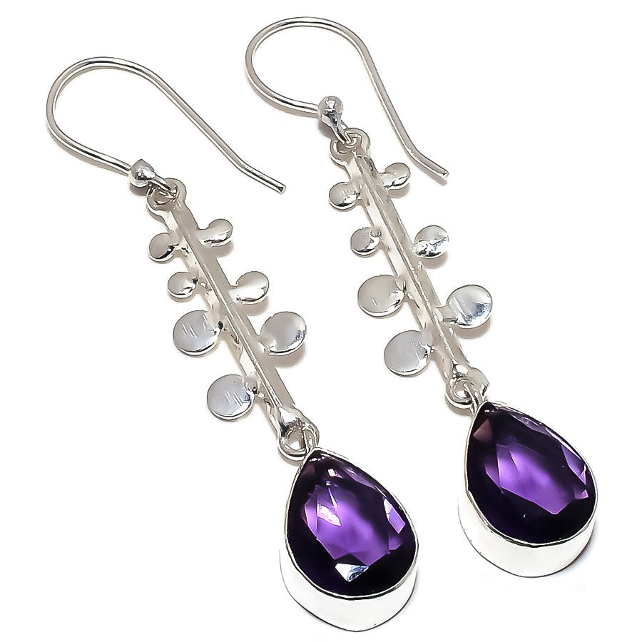 Amethyst Gemstone Handmade Jewelry Earring 2.4 Inches RE1220