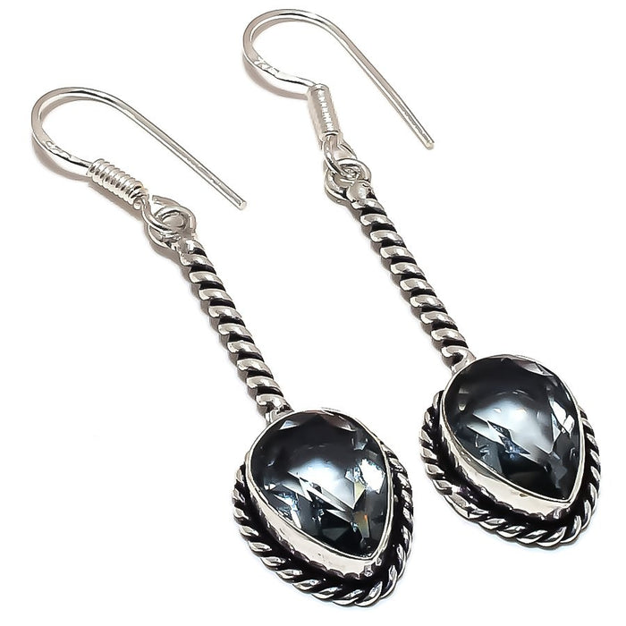 Black Tourmaline Gemstone Ethnic Jewelry Earring 2.2 Inches RE1250