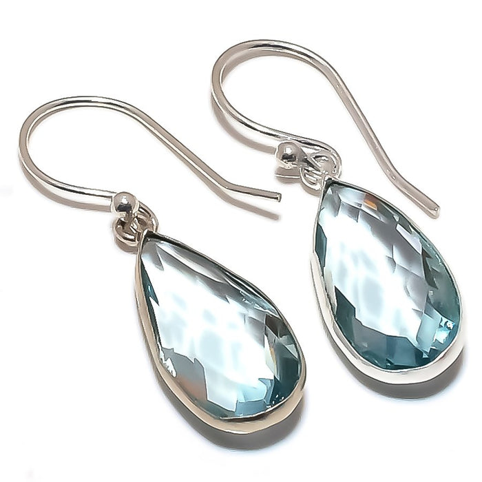 Blue Topaz Gemstone Handmade Jewelry Earring 1.5 Inches RE1255