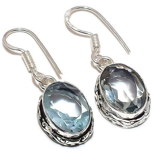 Aquamarine Gemstone Handmade Jewelry Earring 1.4 Inches RE1262