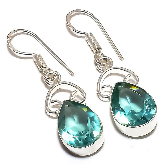 Aqua Apatite Gemstone Handmade Jewelry Earring 1.6 Inches RE1264