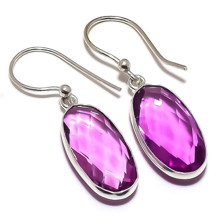 Amethyst Gemstone Handmade Jewelry Earring 1.5 Inches RE1293