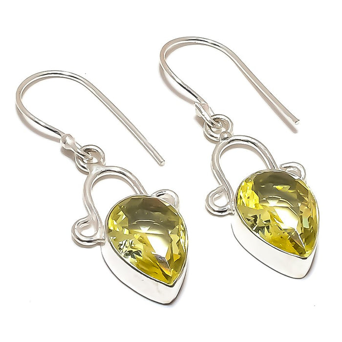 Lemon Topaz Gemstone Handmade Jewelry Earring 1.6 Inches RE1302