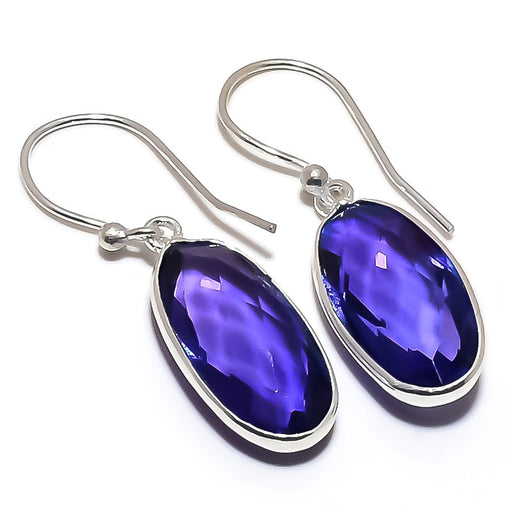 Blue Sapphire Gemstone Handmade Jewelry Earring 1.4 Inches RE1306