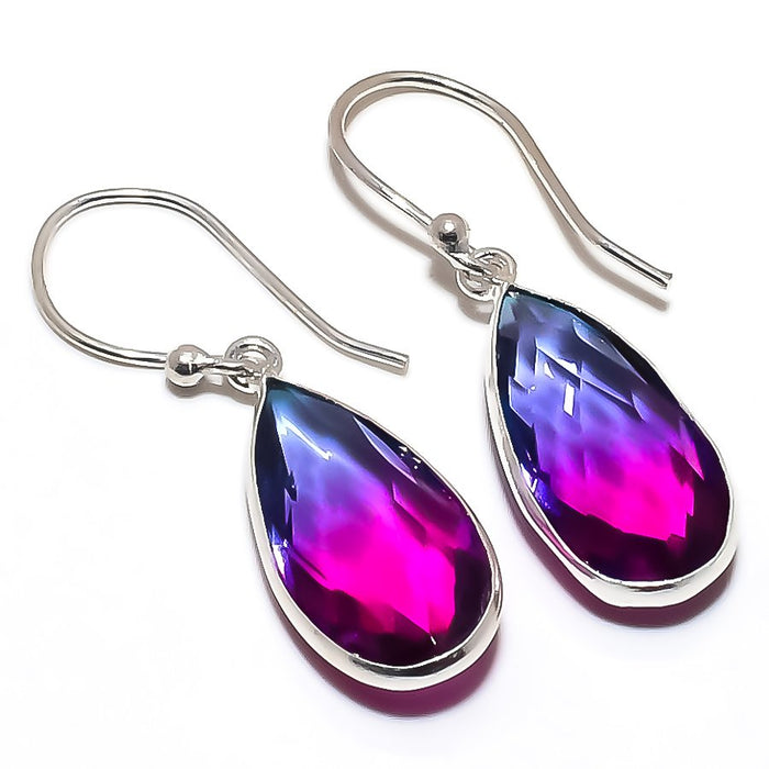 Bi-Color Tourmaline Gemstone Jewelry Earring 1.5 Inches RE1319