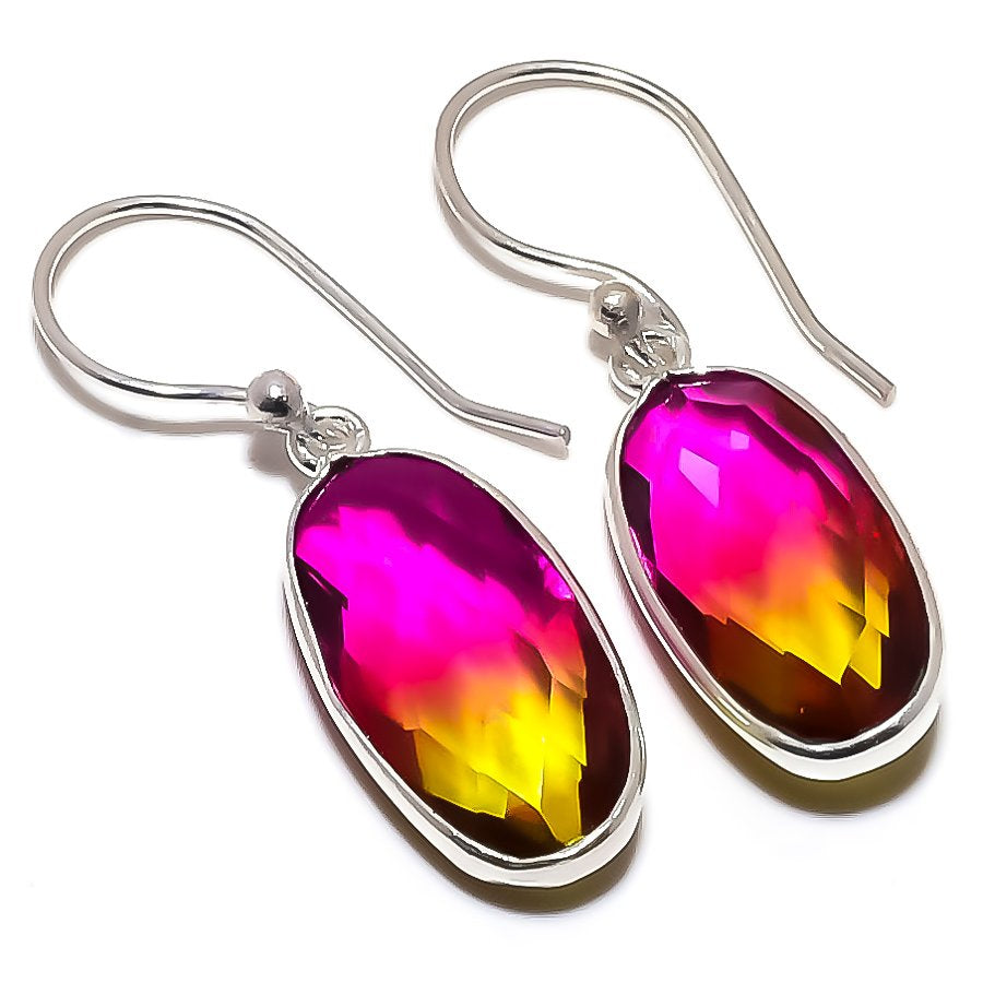 Bi-Color Tourmaline Gemstone Jewelry Earring 1.5 Inches RE1332