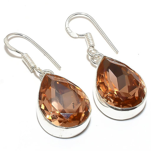 Morganite Gemstone Handmade Jewelry Earring 1.6 Inches RE133