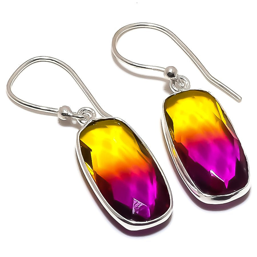 Bi-Color Tourmaline Gemstone Jewelry Earring 1.5 Inches RE1345