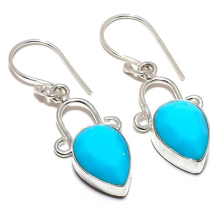 Blue Turquoise Gemstone Handmade Jewelry Earring 1.7 Inches RE1364