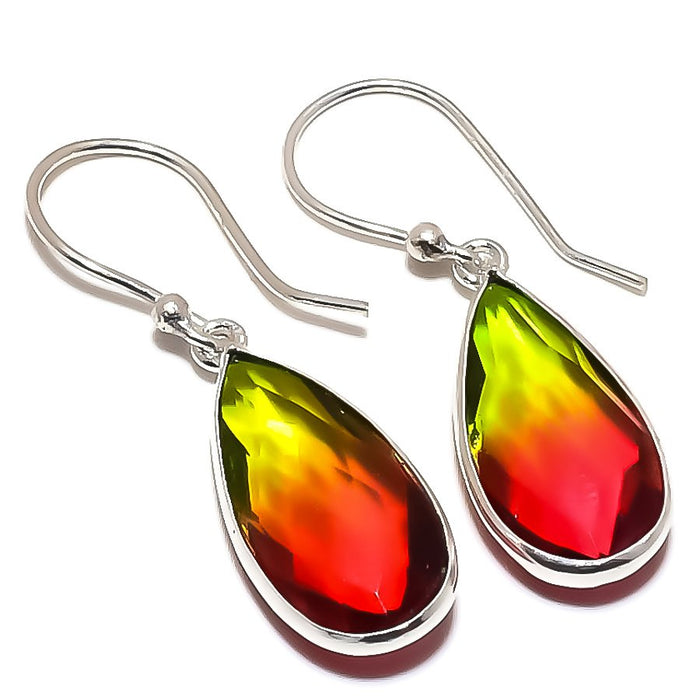 Bi-Color Tourmaline Gemstone Jewelry Earring 1.5 Inches RE1374